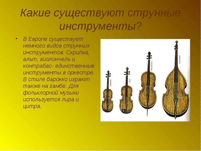 Какие существуют струнные инструменты? В Европе существует немного видов стру...
