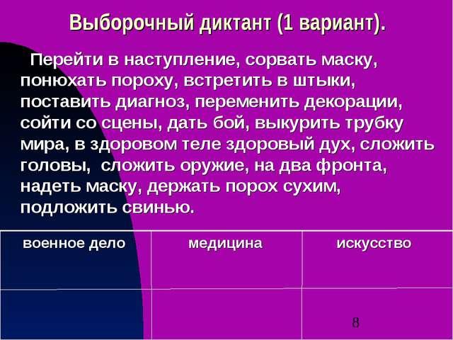 Выборочный диктант (1 вариант). искусство медицина военное дело Перейти в нас...