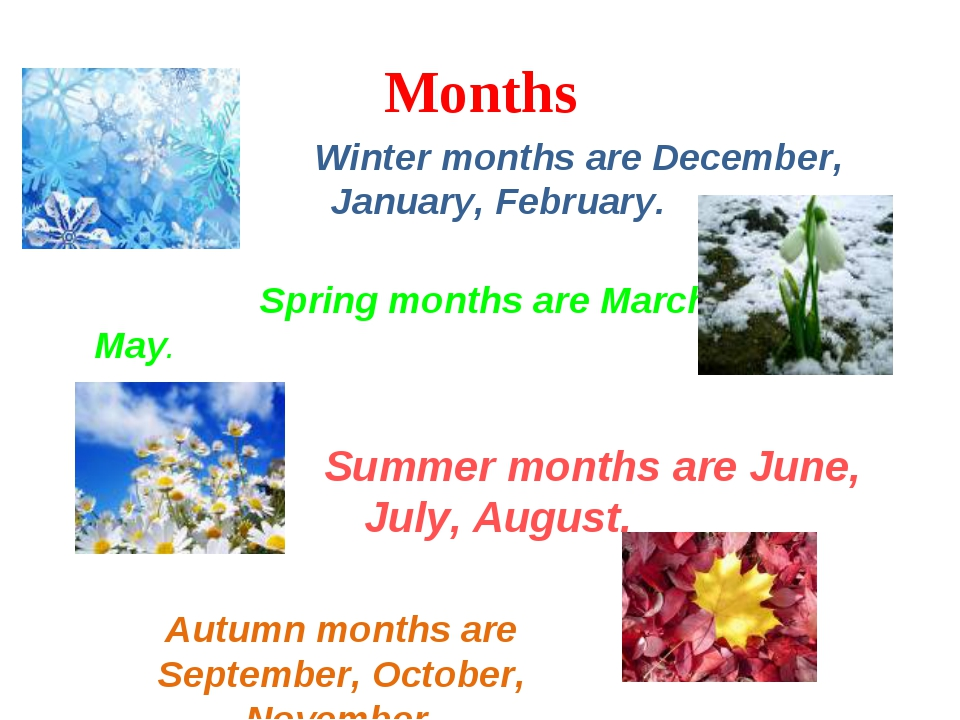 Months Winter months are December, January, February. Spring months are March...