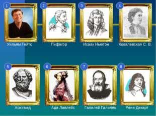1 2 3 4 5 6 7 8 Уильям Гейтс Пифагор Исаак Ньютон Ковалевская С. В. Архимед А