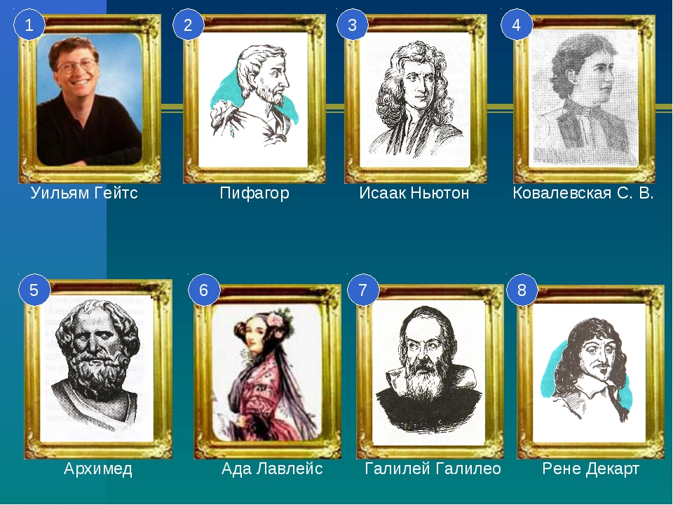 1 2 3 4 5 6 7 8 Уильям Гейтс Пифагор Исаак Ньютон Ковалевская С. В. Архимед А...