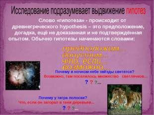 Слово «гипотеза» - происходит от древнегреческого hypothesis – это предполож