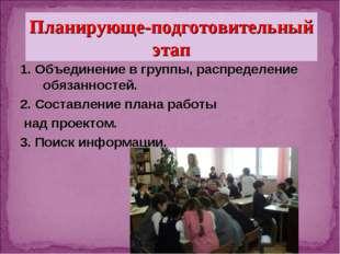 1. Объединение в группы, распределение обязанностей. 2. Составление плана ра