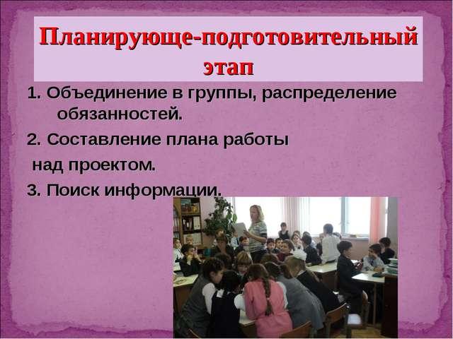 1. Объединение в группы, распределение обязанностей. 2. Составление плана ра...