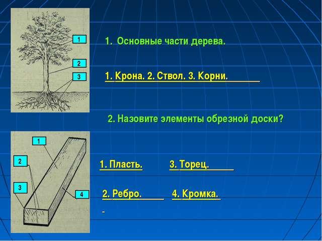 1 2 3 Основные части дерева. 1. Крона. 2. Ствол. 3. Корни. 1 2 3 4 2. Назовит...