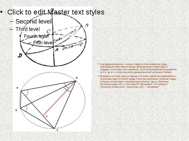 Ещё древнегреческие ученые создали «тригонометрию хорд», выражавшую зависимо...