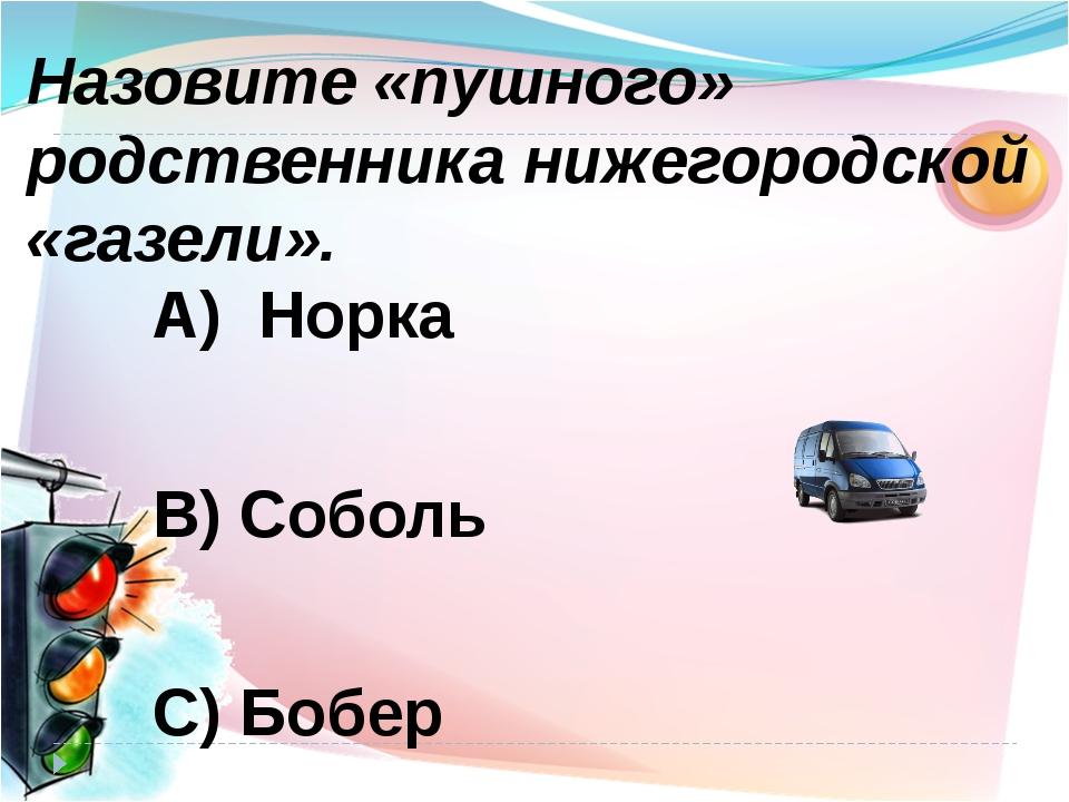 А) Норка В) Соболь С) Бобер Назовите «пушного» родственника нижегородской «га...