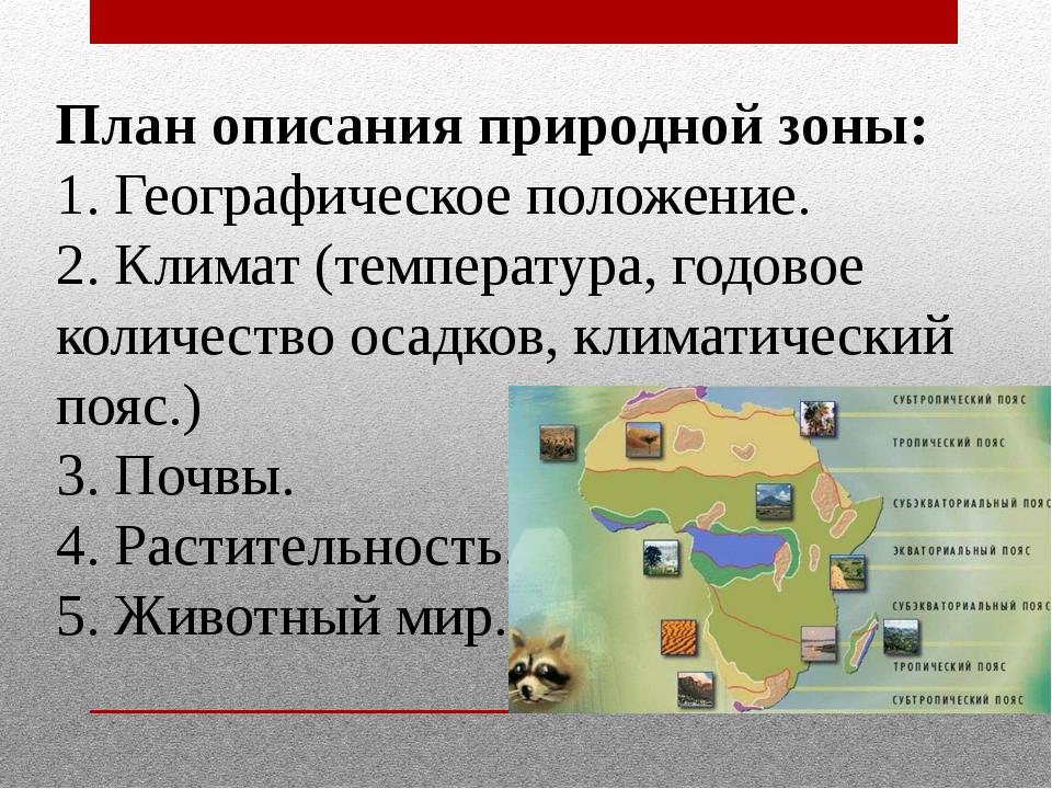 План описания природной зоны: 1. Географическое положение. 2. Климат (темпера...