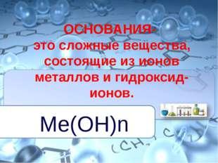 ОСНОВАНИЯ- это сложные вещества, состоящие из ионов металлов и гидроксид-ионо