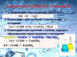 Химические свойства оснований Взаимодействие щелочейс кислотами: NaOH + HCl =
