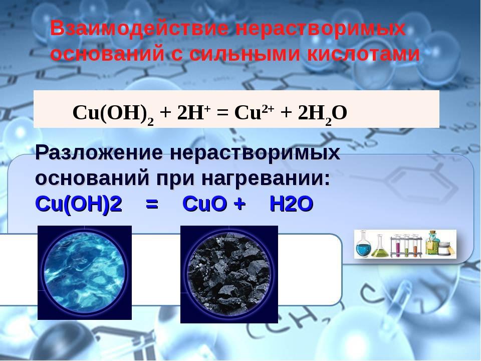 Cu(OH)2 + 2HCl = CuCl2 + 2H2O Разложение нерастворимых оснований при нагреван...
