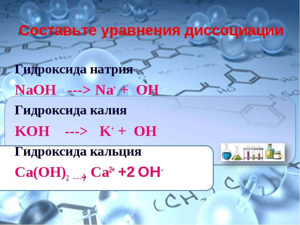 Составьте уравнения диссоциации Гидроксида натрия NaOH ---> Na+ + ОН- Гидрокс...