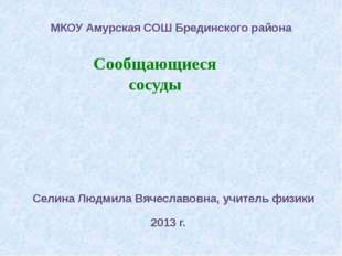 Сообщающиеся сосуды МКОУ Амурская СОШ Брединского района Селина Людмила Вяче