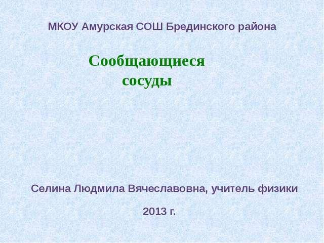 Сообщающиеся сосуды МКОУ Амурская СОШ Брединского района Селина Людмила Вяче...