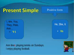 Positive form He, She, It + Vs I, We, You, They, Pete, Ann… + V1 Ann likes pl