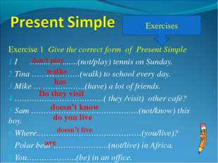 Exercise 1 Give the correct form of Present Simple I …...................(not