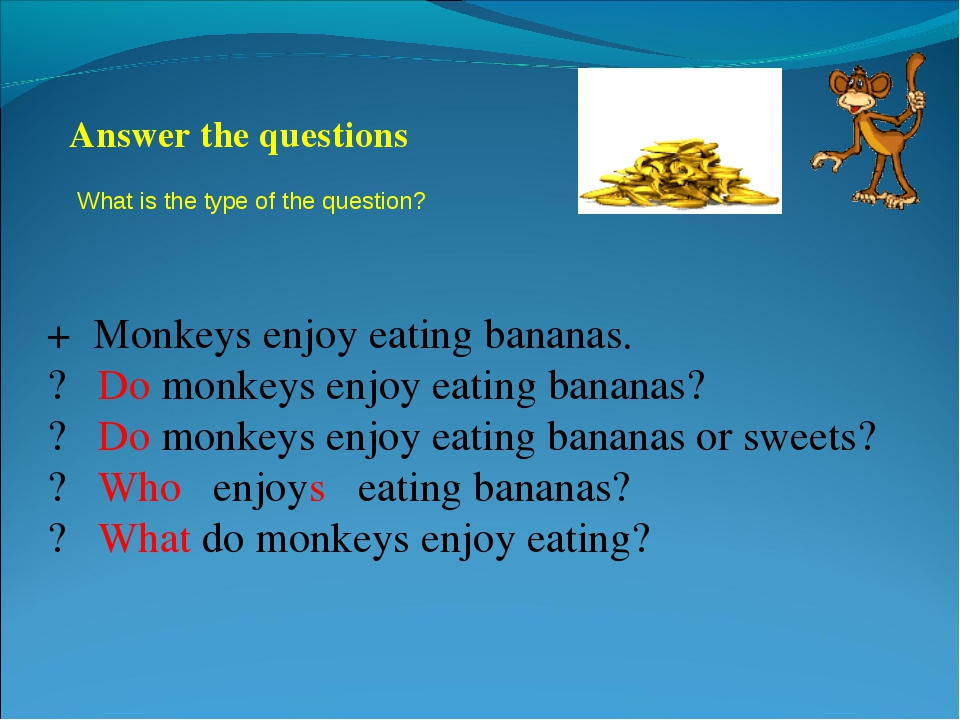 + Monkeys enjoy eating bananas. ? Do monkeys enjoy eating bananas? ? Do monke...