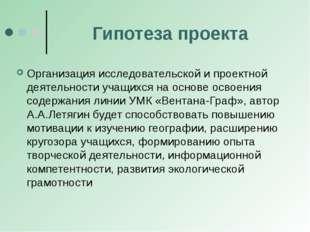 Гипотеза проекта Организация исследовательской и проектной деятельности учащи