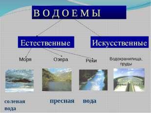 В О Д О Е М Ы Искусственные Естественные пресная вода соленая вода Моря Озера