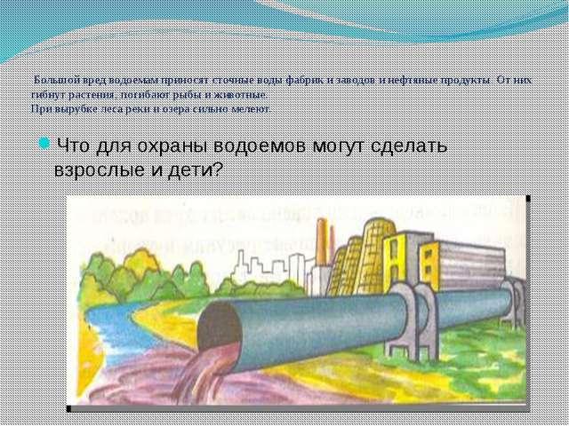 Большой вред водоемам приносят сточные воды фабрик и заводов и нефтяные прод...