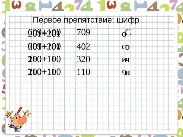 Первое препятствие: шифр 201+201о 609+100с 100+10 и 210+110ч 609+100...