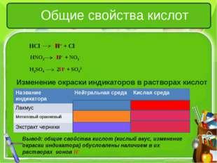Общие свойства кислот Изменение окраски индикаторов в растворах кислот Вывод: