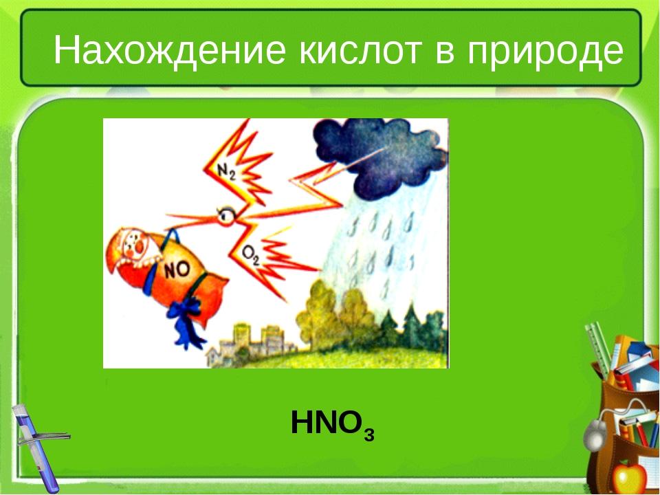 Нахождение кислот в природе HNO3