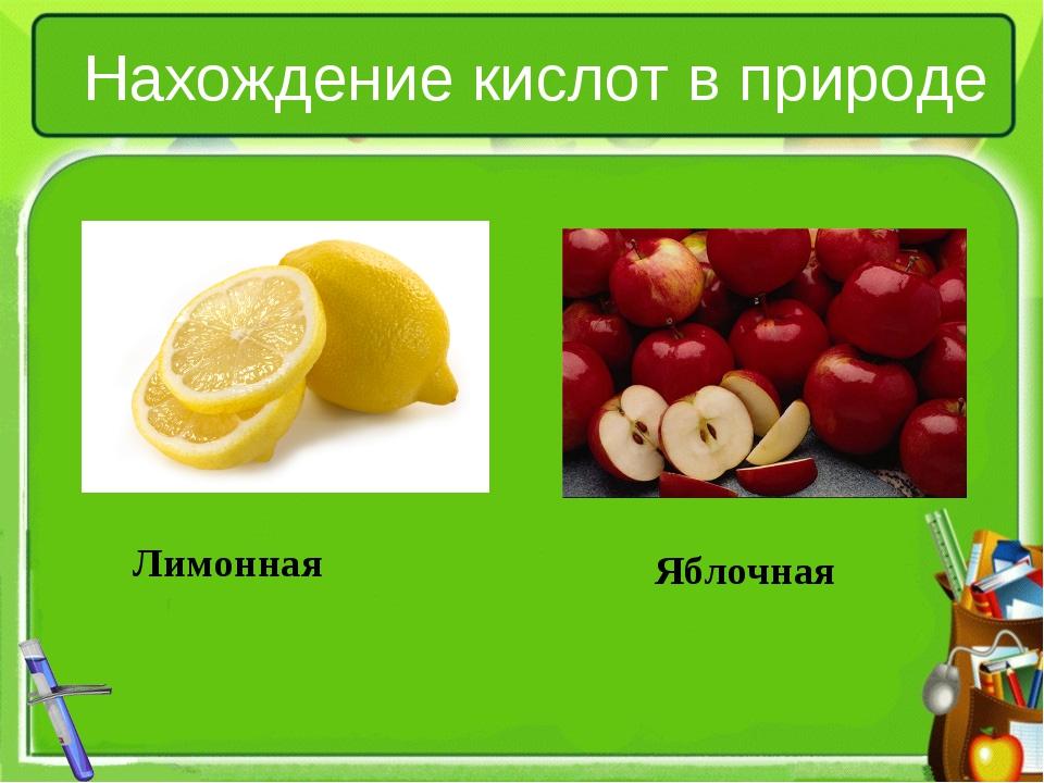 Нахождение кислот в природе Лимонная Яблочная