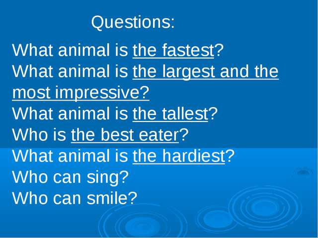 Questions: What animal is the fastest? What animal is the largest and the mos...