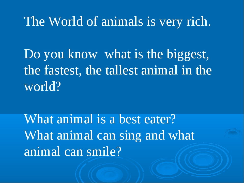 The World of animals is very rich. Do you know what is the biggest, the faste...