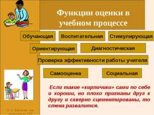 Л. А. Черкасова -зам. директорв по УВР Функции оценки в учебном процессе Соци
