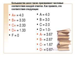 Большинство школ также присваивают числовые соответствия каждой отметке. Как