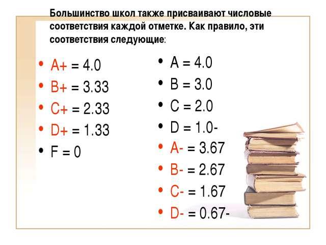 Большинство школ также присваивают числовые соответствия каждой отметке. Как...