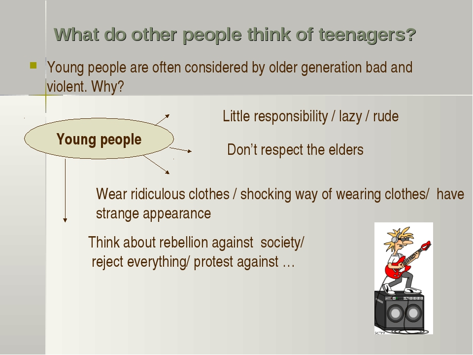What do other people think of teenagers? Young people are often considered by...