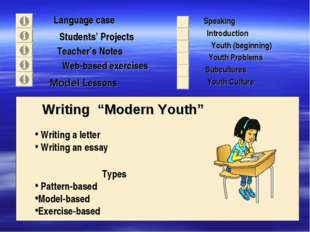 "Language case Students' Projects Teacher's Notes Writing ""Modern Youth"" Spea"