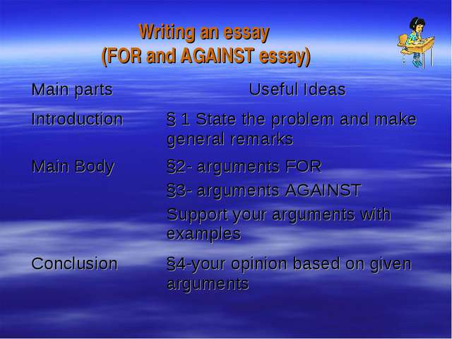 Writing an essay (FOR and AGAINST essay) Main parts	Useful Ideas Introduction...