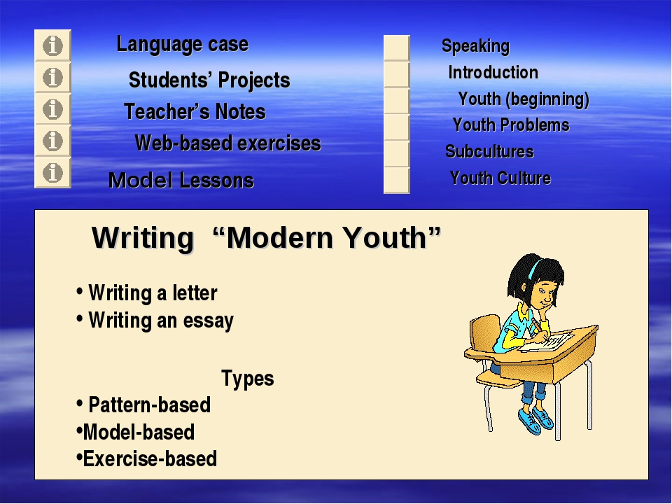 "Language case Students' Projects Teacher's Notes Writing ""Modern Youth"" Spea..."