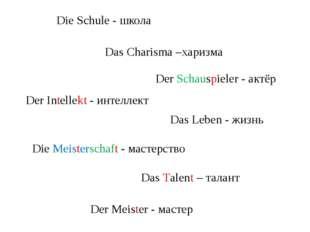 Die Schule - школа Die Meisterschaft - мастерство Das Charisma –харизма Der I