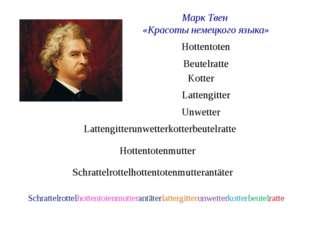 Марк Твен «Красоты немецкого языка» Hottentoten Beutelratte Lattengitter Kott