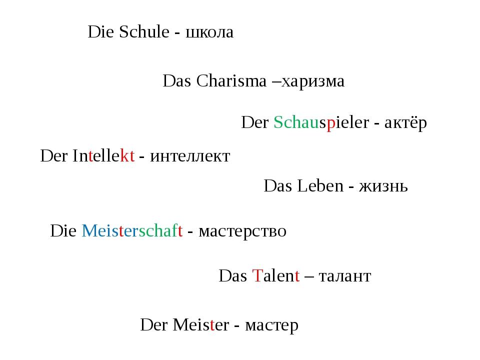 Die Schule - школа Die Meisterschaft - мастерство Das Charisma –харизма Der I...
