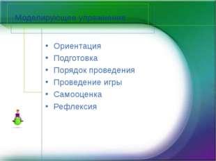 Моделирующее упражнение Ориентация Подготовка Порядок проведения Проведение и
