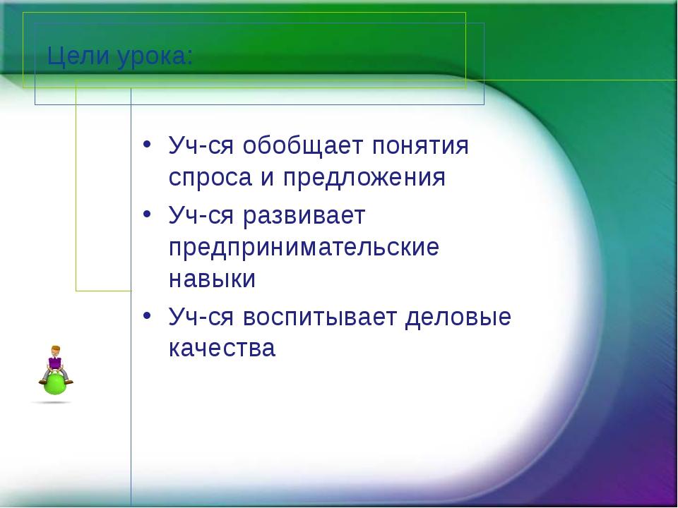 Цели урока: Уч-ся обобщает понятия спроса и предложения Уч-ся развивает предп...