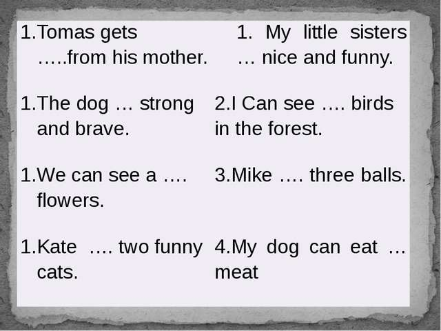 Tomas gets…..fromhis mother. 1. My little sisters…nice and funny. The dog…str...