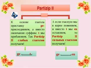 ge en ge t Partizip II К основе глагола приставку ge- присоединяем, а вместо