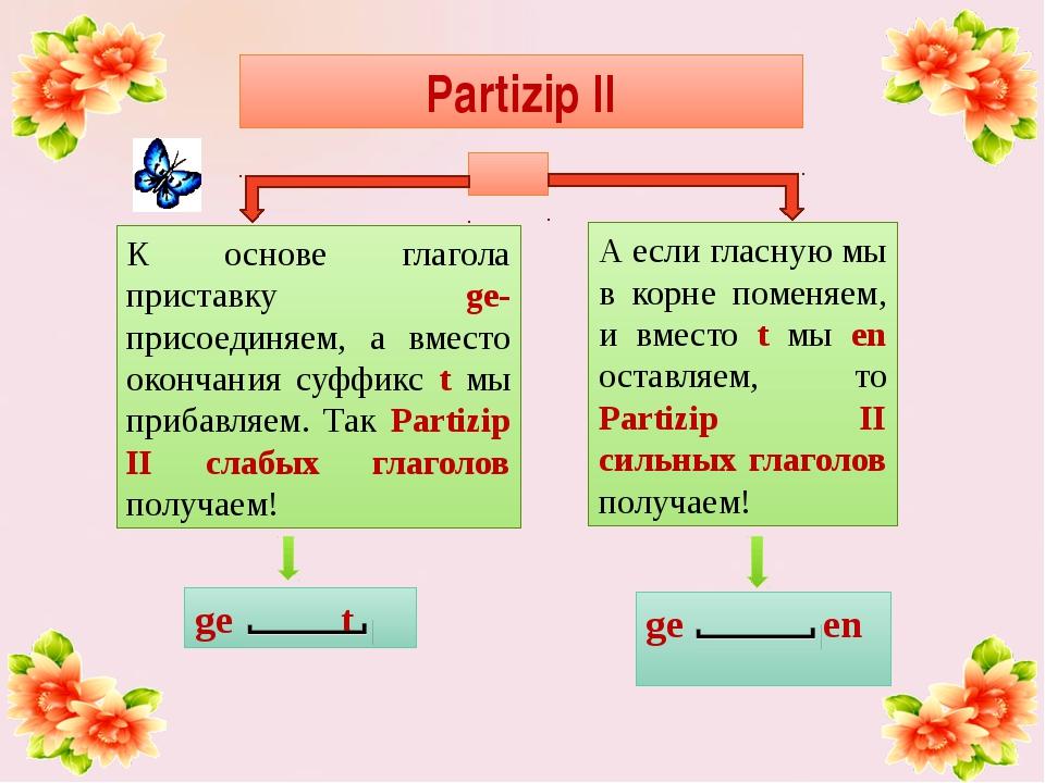 ge en ge t Partizip II К основе глагола приставку ge- присоединяем, а вместо...