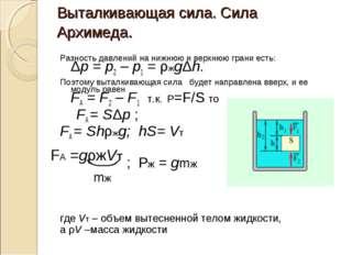 Выталкивающая сила. Сила Архимеда. Разность давлений на нижнюю и верхнюю гран