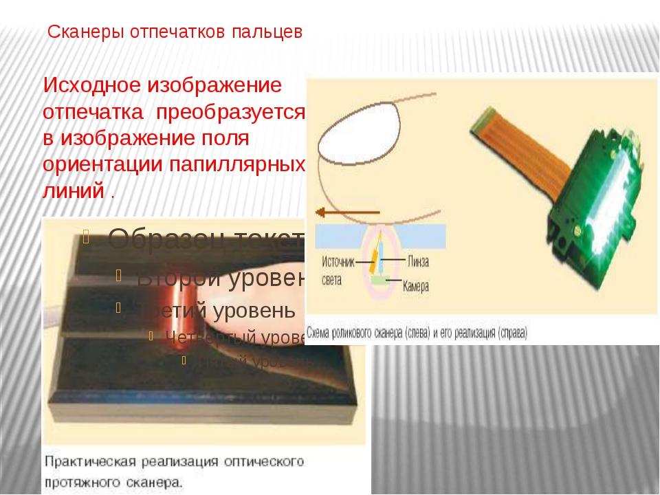 Сканеры отпечатков пальцев Исходное изображение отпечатка преобразуется в изо...