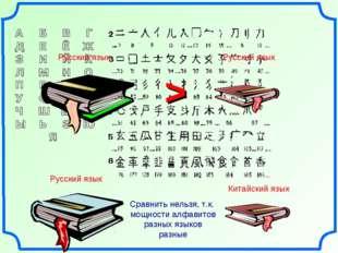 > Сравнить нельзя, т.к. мощности алфавитов разных языков разные