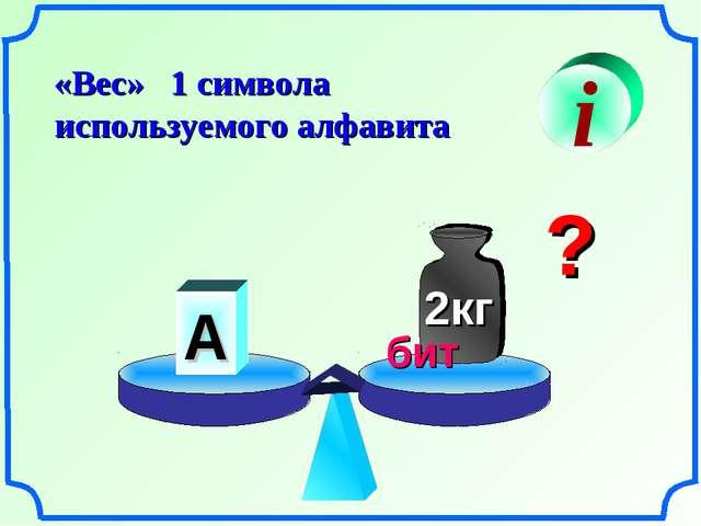 «Вес» 1 символа используемого алфавита i А ? бит