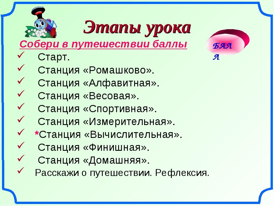 Этапы урока Собери в путешествии баллы Старт. Станция «Ромашково». Станция «А...